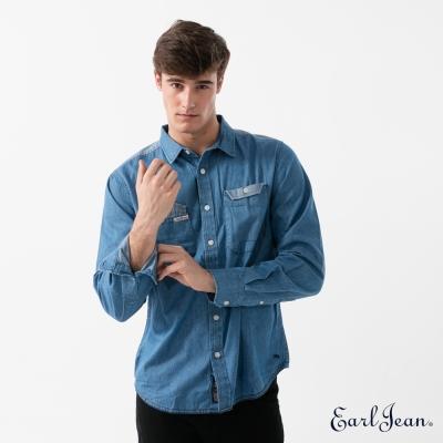Earl Jean 剪接牛仔長袖襯衫-中藍-男
