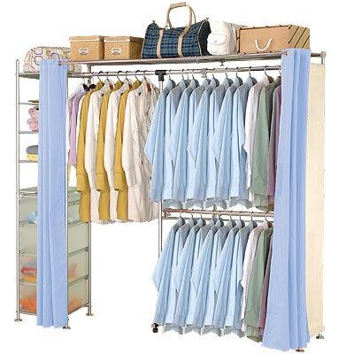 巴塞隆納-NEW第三代自由搭防塵伸縮衣櫥 (附置物櫃)