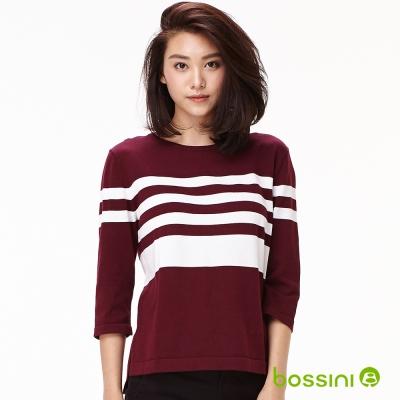bossini女裝-條紋七分袖線衫01酒紅