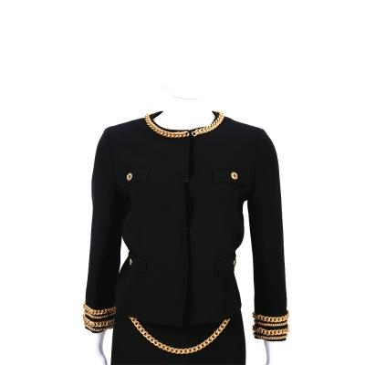 BOUTIQUE MOSCHINO 黑色金屬鍊飾邊外套
