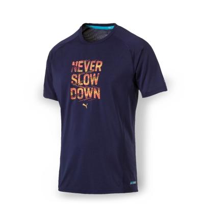 PUMA 男性慢跑系列PWRCOOL字樣短袖T恤-重深藍