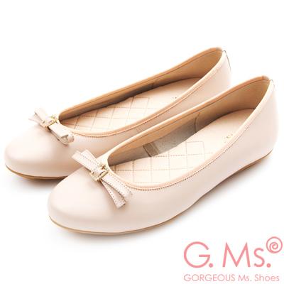 G.Ms. MIT系列-牛皮鑽釦皮帶蝴蝶結娃娃鞋-粉紅