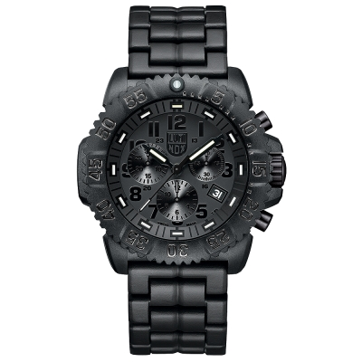 LUMINOX 雷明時海豹部隊碳纖維三眼計時鍊帶腕錶-黑x黑時標/44mm