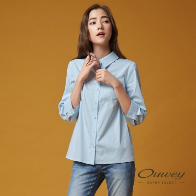 OUWEY歐薇 甜美棉花糖藍襯衫(藍)-動態show