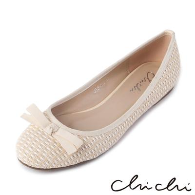 Chichi夏日清甜-可愛麻編舒適平底鞋*象牙白