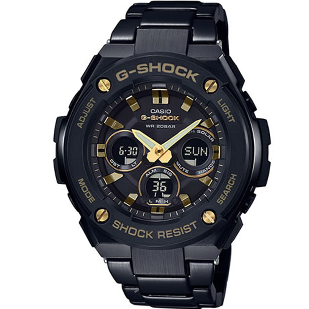 G-SHOCK 創新突破分層防護休閒運動錶(GST-S300BD-1A)-黑/52.4mm