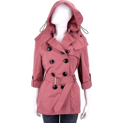 BURBERRY 可拆式連帽防雨風衣(深粉色)