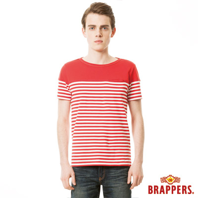 BRAPPERS-男款-胸前剪接條紋短袖上衣-紅