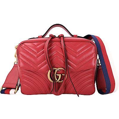 GUCCI GG Marmont 山型絎縫皮革肩背兩用包(芙蓉紅)