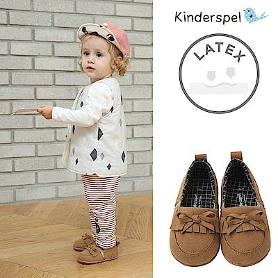 Kinderspel Latex 牛仔皮感學步鞋(流蘇棕)