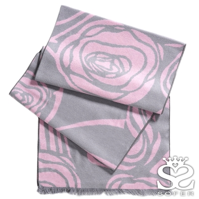 SOFER-凡爾賽玫瑰100-蠶絲圍巾-公主粉