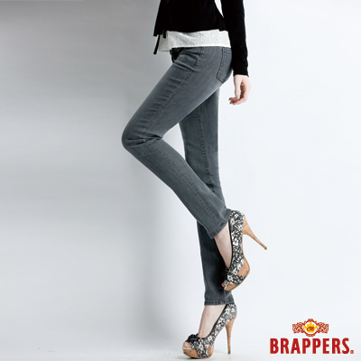 BRAPPERS 女款 新美腳Royal系列-女用彈性鑲鑽AB褲-灰黑