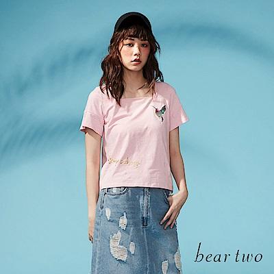 beartwo 彩繪蜂鳥亮片平領棉質上衣(二色)