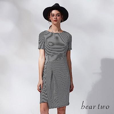 beartwo 拼接感造型條紋洋裝(二色)