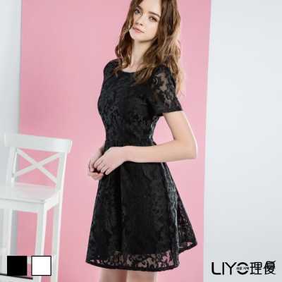 LIYO理優洋裝圓領蕾絲洋裝(白,黑)