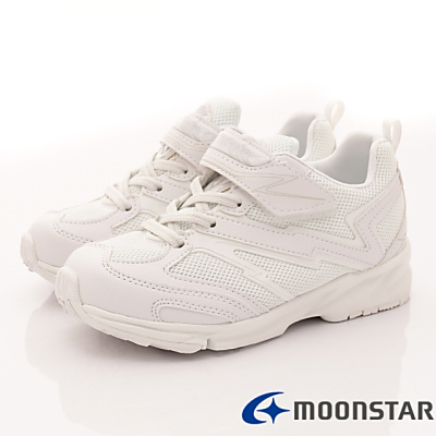 日本月星頂級童鞋-競速私校純白運動鞋-011白(中大童段)T