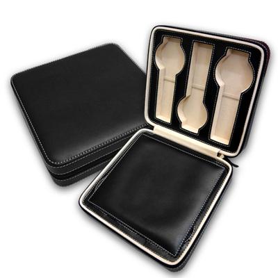 細緻質感平式手錶拉鍊真皮收納包 六入裝 - 黑色