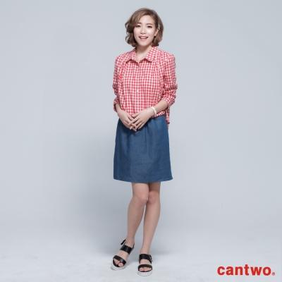 cantwo雙色格紋丹寧假兩件長袖洋裝(共三色)