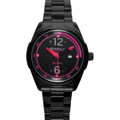 BAKLY 重裝系列爭鋒時刻玻麗腕錶~黑x桃紅 46mm