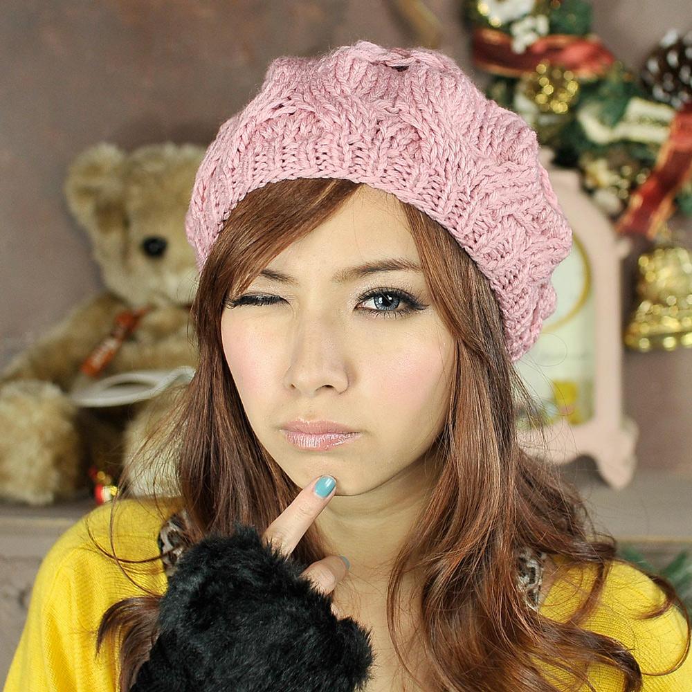 Aimee Toff 冬日氣息麻花編織氣質貝蕾帽(粉)