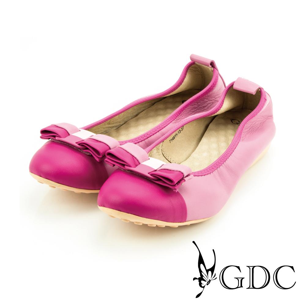 GDC-蝴蝶雙色拼接彈力舒適真皮平底娃娃鞋-桃紅色