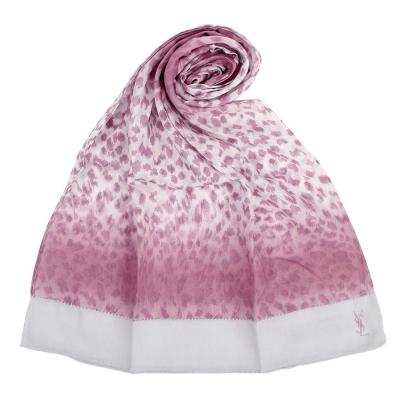YSL 渲彩豹紋純棉薄圍巾-紫紅色
