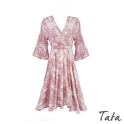 七分喇叭袖碎花綁帶洋裝 TATA