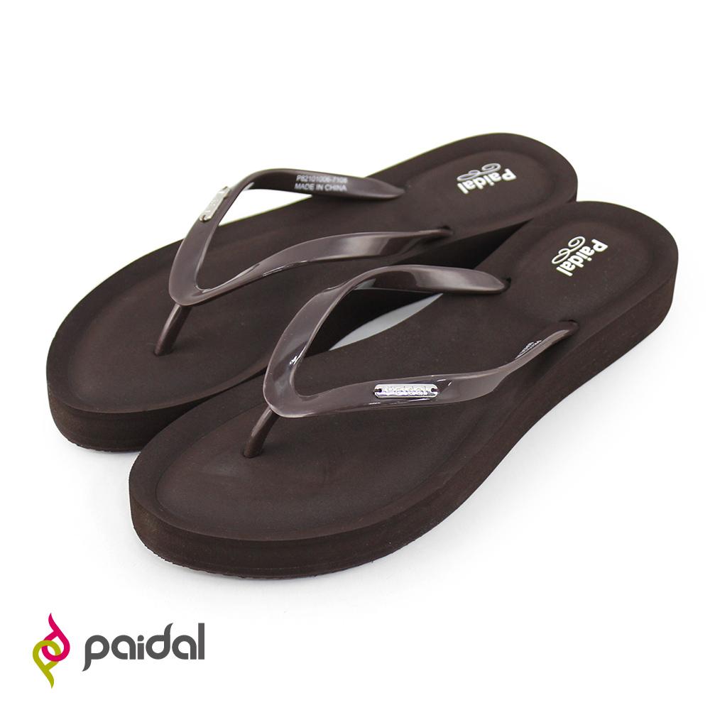Paidal經典新色膨膨氣墊美型厚底夾腳拖鞋-樹咖
