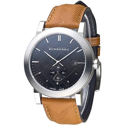 BURBERRY 英國皇室品味設計風格獨立小秒盤男錶-黑(BU9905)/43mm