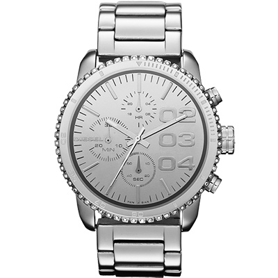 DIESEL 忍者戰將時尚晶鑽計時腕錶-銀/42mm