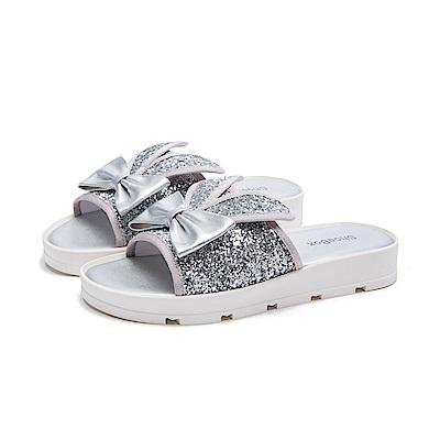 達芙妮DAPHNE ShoeBox系列 涼鞋-金蔥兔耳蝴蝶結厚底涼拖鞋-銀