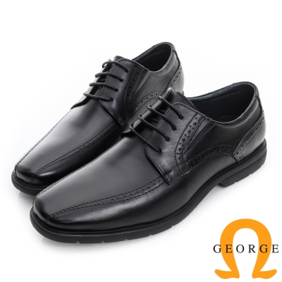 GEORGE 喬治-超輕量繫帶柔軟真皮紳士鞋-黑色