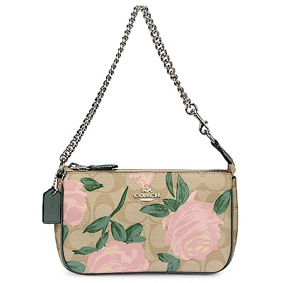 COACH 經典LOGO玫瑰花卉圖案金屬鍊帶小手提包/手拿包-卡其/粉綠色