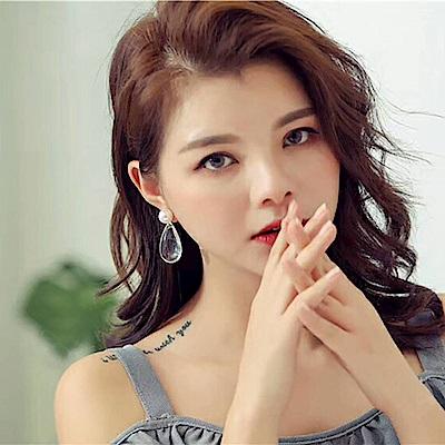 梨花HaNA  韓國存在感指數透明大水滴珍珠耳環