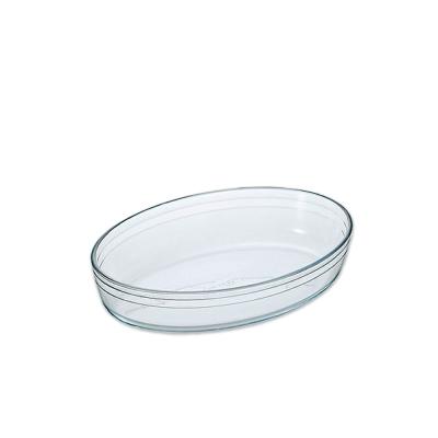 【ADERIA】日本進口耐熱玻璃橢圓薄型烤盤(大)