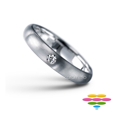 彩糖鑽工坊 K白鑽戒(寬4mm) 幸褔指輪系列