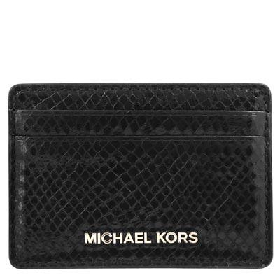 MICHAEL KORS 亮面蛇紋皮革證件名片夾(黑色)