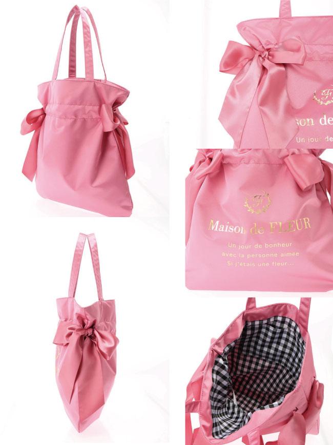 Maison de FLEUR  光澤感兩側綁帶手提包/袋