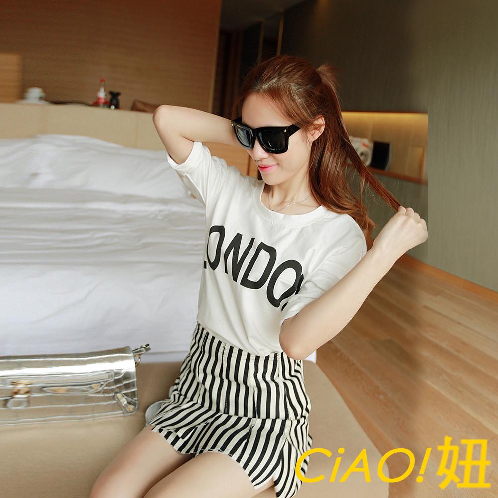 英文字母圖案捲邊袖棉T恤 (白色)-CiAO妞