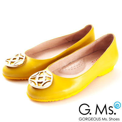 G.Ms. 金屬圓釦全真皮微坡跟娃娃鞋-  心動黃