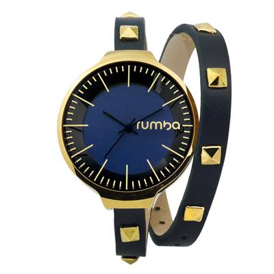 RumbaTime Orchard 鉚釘造型雙層環繞式皮革手錶-藍黑x金框 /36mm