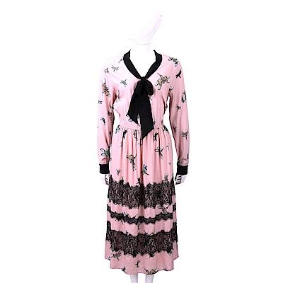 BLUGIRL-FOLIES 蕾絲細節粉色蜻蜓印花絲質洋裝