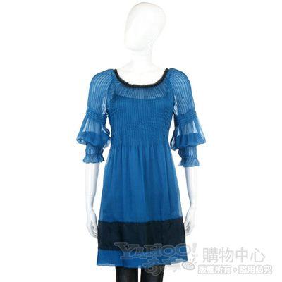 PHILOSOPHY 藍色抓摺紗質七分袖洋裝