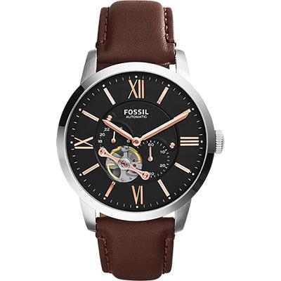 FOSSIL Townsman 城區探索機械錶-黑x咖啡/44mm