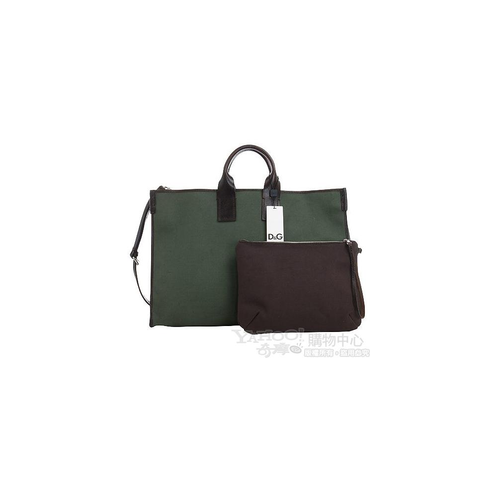 D&G 深綠色帆布兩用購物包