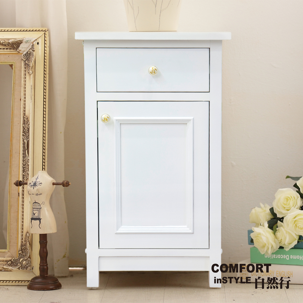 CiS自然行實木家具 收納櫃-原木床頭櫃-矮櫃(純粹白)