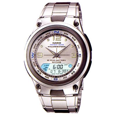 CASIO 多功能狩獵雙顯錶(AW-82D-7A)-銀白/40mm