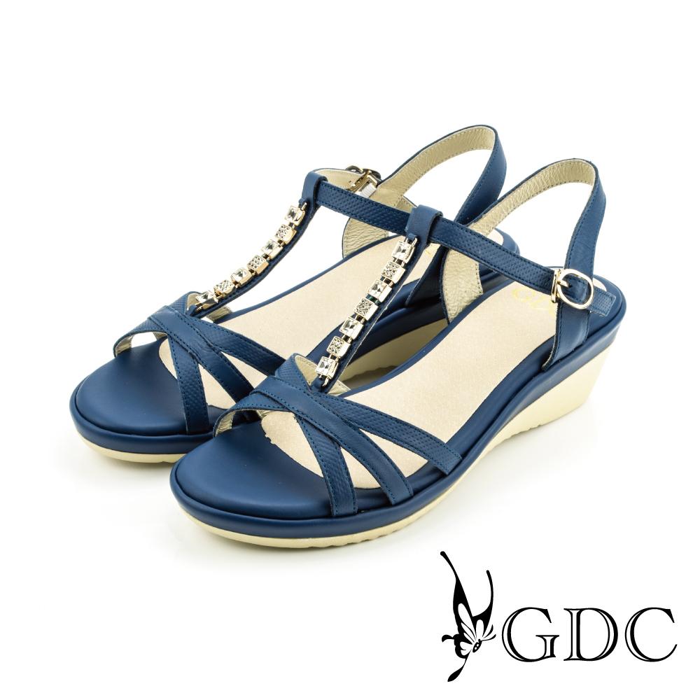 GDC-低調奢華水鑽真皮素色涼鞋-藍色