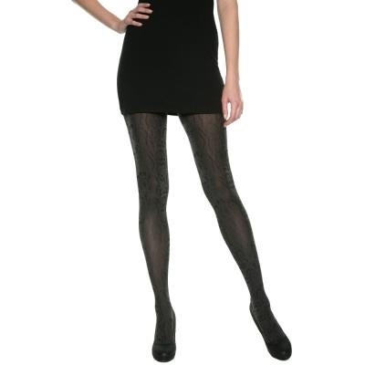 法國DIM-MOD「時尚」系列古典蟒紋造型褲襪-012X 黑灰