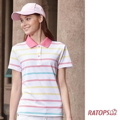 【瑞多仕-RATOPS】女 COOLMAX 短袖條紋POLO衫_DB8805